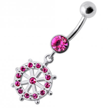 Fancy CZ Jeweled Life Of Circle Dangling Banana Navel Belly Ring