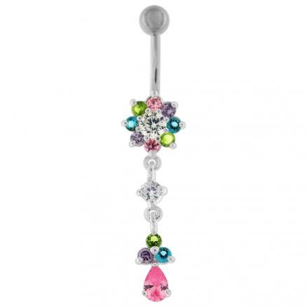 14 Gauge Fancy Jeweled Flower Dangling Curved Bar Belly Ring