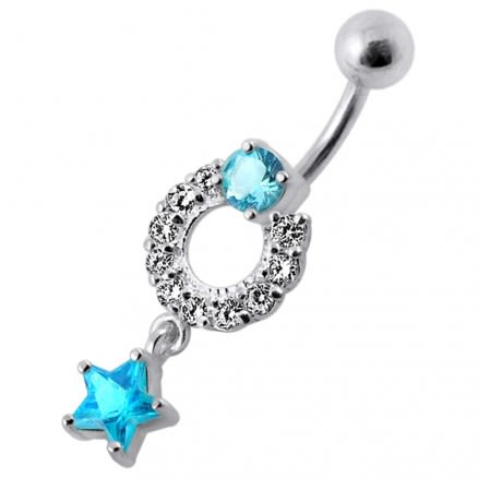Fancy White Jeweled With Star Dangling Navel Belly Ring
