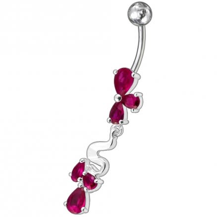 Fancy Pink Stone Jeweled Dangling Belly Ring