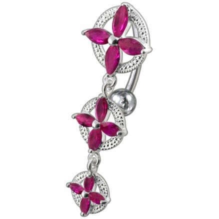 14 Gauge Fancy SS Jeweled Dangling Reverse Belly Ring