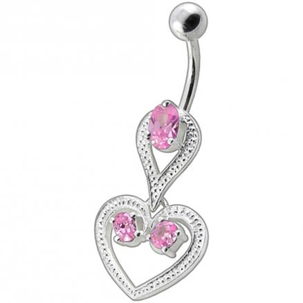 Fancy Pink And White Zirconia Jeweled Heart Dangling Curved Bar Belly Ring
