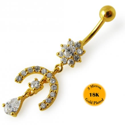 14G 10mm Yellow Gold Platted 925 Sterling Silver Clear Jeweled Navel Belly Ring