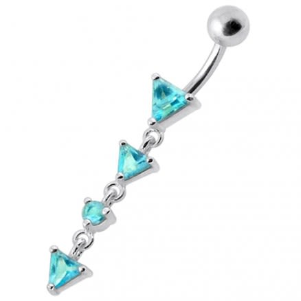 Fancy Jeweled  LONG Dangling SS Banana Curved Bar Belly Ring