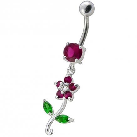 Fancy White Flower With Green Jeweled Leafs  Dangling Navel Banana Bar Ring