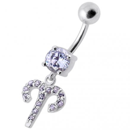 Fancy Multi Stones Jeweled Non Moving Dangling SS Bar Belly Ring