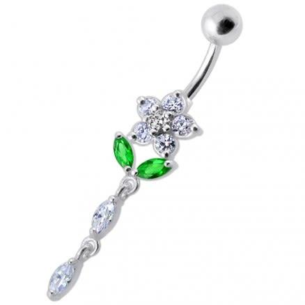 Fancy Jeweled Flower Dangling Banana Bar Navel Ring