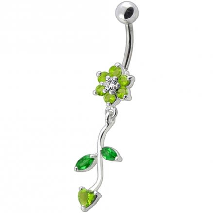 Fancy Multi Color Flower Dangling Navel Ring
