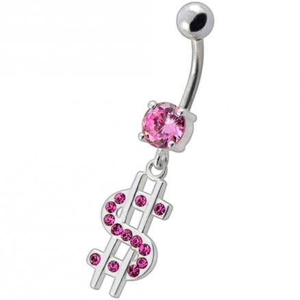 Fancy Jeweled $ Sign Dangling Belly Ring