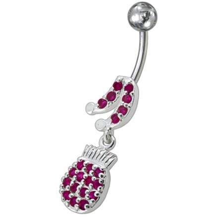 Fancy Music Instrument Jeweled Dangling Navel Belly Ring