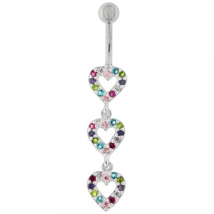 Tripple Heart Dangling Fancy Multi Jeweled Cuved Bar Belly Ring