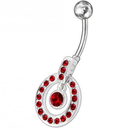 Fancy Multi Colored Round Shape Jeweled Dangling Banana Bar Belly Ring
