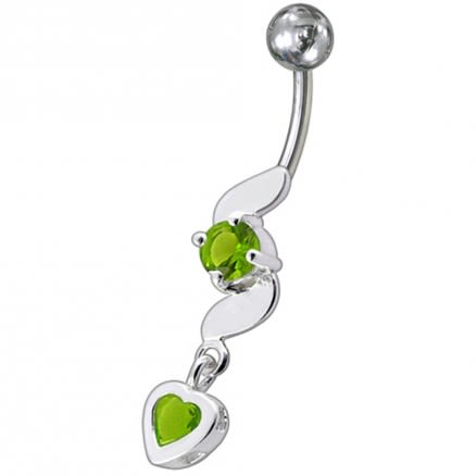 Fancy Beautiful Pink Heart Stone Jeweled Dangling Belly Navel Ring