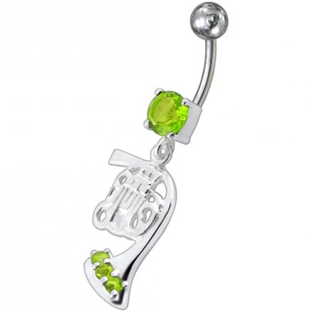 FancySilver  Girl Jeweled Dangling SS Bar Belly Ring