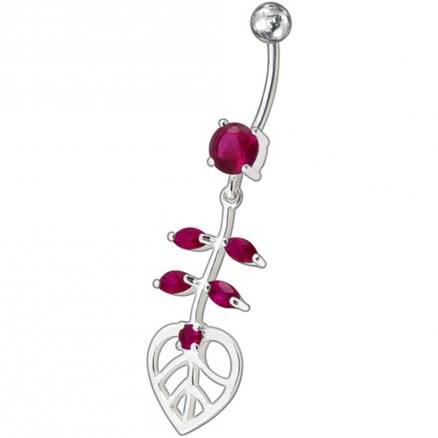 Fancy Heart Jeweled Dangling Navel Ring