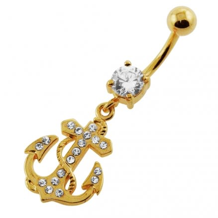 14G 10mm Yellow Gold Plated Sterling Silver Clear Jeweled Anchor Navel Belly Bar