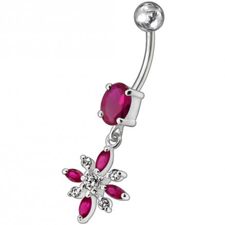 Dark Blue Stone Jeweled Flower Dangling Belly Ring