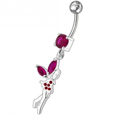 Banana Bar Belly Ring With Fancy Fairy Jeweled Dangling