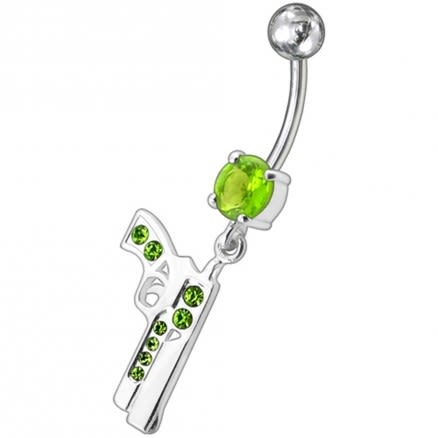 Dangling Silver Fancy GUN Jeweled Curved Bar Navel Ring