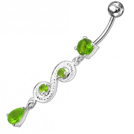 Fancy White Jeweled Dangling 316L SS Bar Belly Ring