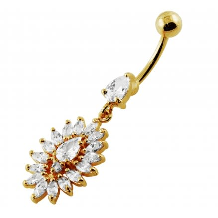 14G 10mm Yellow Gold Plated Silver Clear Jeweled Oval Flower Navel Belly Ring