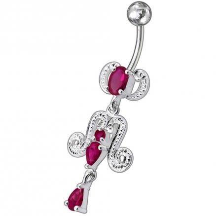 Fancy Girl Dress Jeweled Dangling Belly Ring