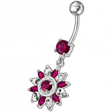 Fancy Blue And White Royal Flower Jeweled Dangling SS Bar Belly Ring