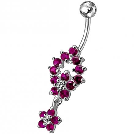 Fancy two Flower Jeweled Dangling Navel Ring PBM1598