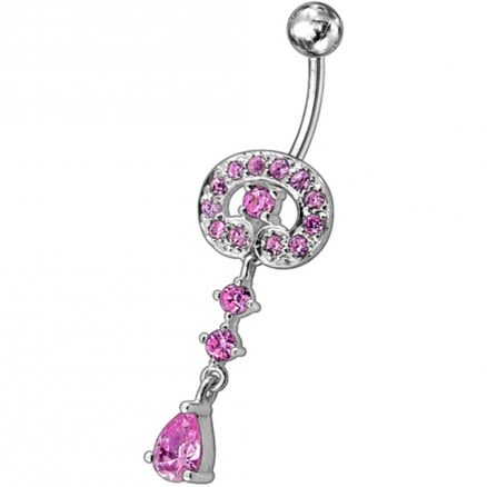 Fancy Vintage Indian Jewelry Jeweled Silver Dangling SS Bar Belly Ring