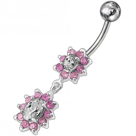 Fancy Pink Stone Jeweled Multi Flower Dangling Navel Ring