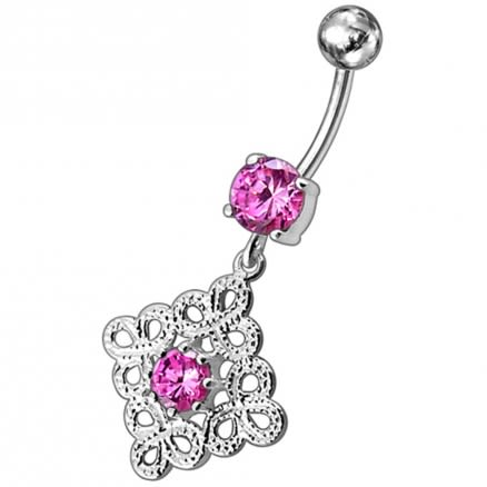 Fancy Old Vintage Jeweled Dangling Navel Body Ring