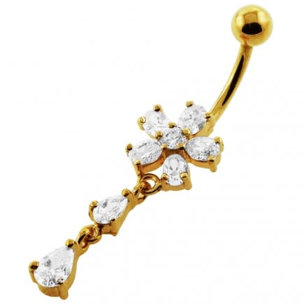 14G 10mm Yellow Gold Plated Silver Clear Jeweled Flower dangling Navel Ring
