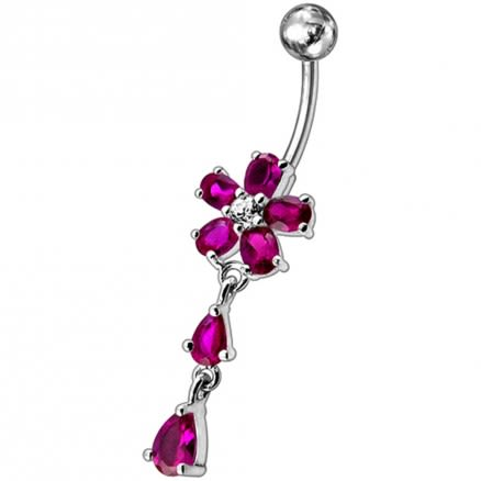Fancy Jeweled Flower With Silver Dangling SS Bar Navel Ri
