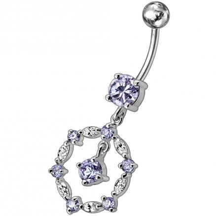 Silver Fancy Circle Jeweled Dangling Navel Banana Bar Ring