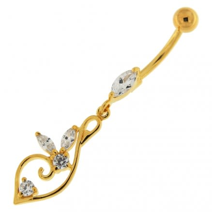 14G 10mm Yellow Gold Plated Silver Clear Jeweled Floral Charm Navel Belly Ring