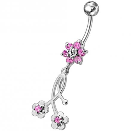 Fancy Long Flower With 2 Small Flower Jeweled Dangling Navel Ring
