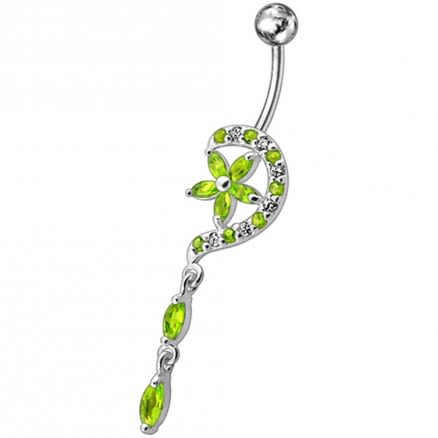 Fancy Jeweled Flower Long Tail Silver Dangling Belly Ring