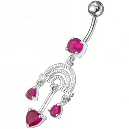 Fancy Pink Chandeliers Jeweled Dangling Belly Ring