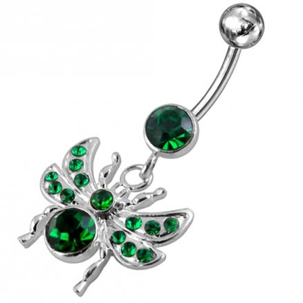 Jeweled Spider Dangling Belly Ring