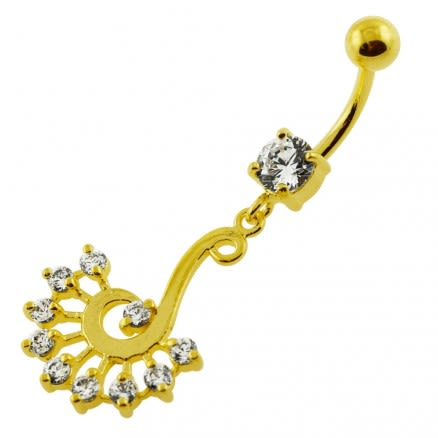 14G 10mm Yellow Gold Plated Sterling Silver Clear Jeweled Peacock Belly Bar