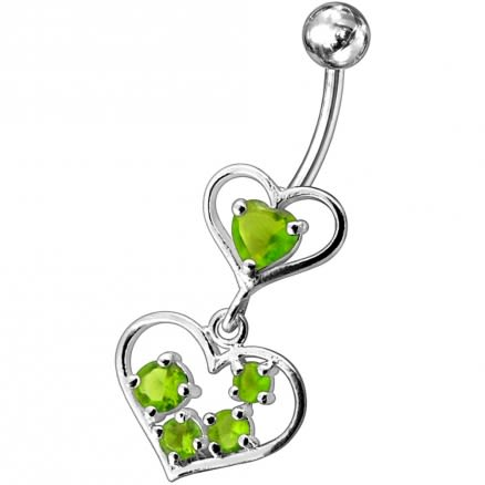 Fancy Jeweled Heart Dangling SS Bar Body Belly Ring