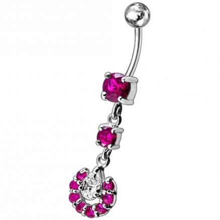 Fancy Aqua Color Jeweled Teardrop Silver Dangling Navel Ring