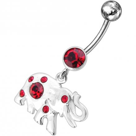 Jeweled Elephant Dangling Belly Ring
