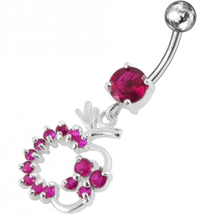 Jeweled Fancy Apple Dangling Belly Ring