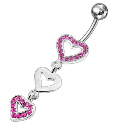 Triple Jeweled Heart Silver Dangling SS Navel Banana Ring