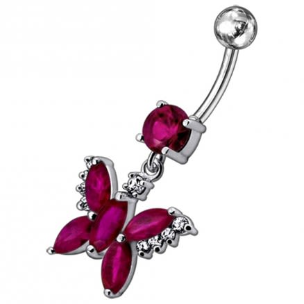 Jeweled Butterfly Dangling Belly Button Ring