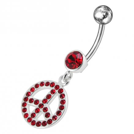 White Jeweled Fancy Logo Silver Dangling Steel Curved Belly Ring PBM1671