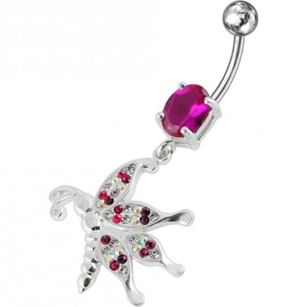 Jeweled Dragonfly Dangling Belly Ring