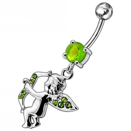 Jeweled Fancy Child Angle Silver Dangling SS Bar Curved Belly Ring