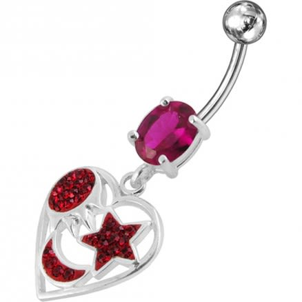 Heart With Mix Jeweled Fancy Design Dangling With Steel Banana Navel Ring